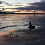 West Beach Lossiemouth with stake at twilight